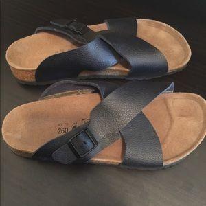 Navy Birkenstock Sandals- Never Worn